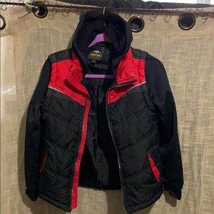 Black & Red puffer coat Med With hood